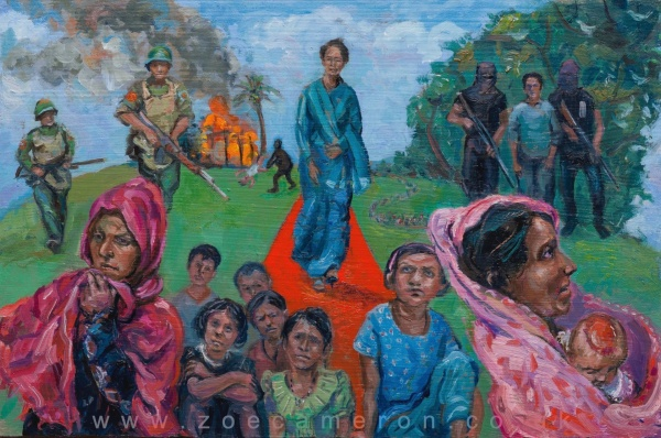 Painting title.25th August 2017. Many thousands of Muslim Rohingya refugees suffer as they seek safety in Bangladesh to escape the violence. In the foreground woman and children await their fate, one holds a baby with a burnt head, behind them are soldiers with guns, beyond a home is on fire.Aung San Suu Kyi walks down a red carpet towards the viewer.