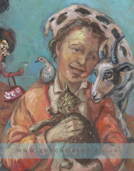 Painting detail. I The target . Triptych. Oil on board .A figure  who loves animals holds a relaxed tabby cat, has a bird on one shoulder and a goat at the other.