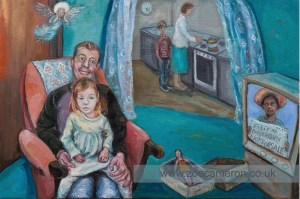 Ex Votive.Painting title - May 20th 2019. Paedophile's are from all races and backgrounds. They will smile and lie to your face to be alone with and abuse a child. Oil on board. 100 painted vows. In the foreground in a living room a child sits on a mans knee, his face is fixed and fake. On the TV a Filipino girls shows a sign that says girls and boys are not for sale. Behind this the mother cooks in the kitchen .