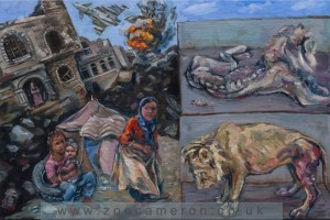 Ex Votive. Painting Title - June 2016. Yemen/Taiz Zoo. Civilians and animals suffer and die trapped in the war. Oil on board. Children on the left hand side of the painting struggle to survive in the bombed city.Above them a war plane has hit a target , a building explodes. The the right contained in 2 small rectangles, two once magnificent lions starve and suffer.