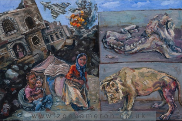 Painting Title - June 2016. Yemen/Taiz Zoo. Civilians and animals suffer and die trapped in the war. Oil on board. Children on the left hand side of the painting struggle to survive in the bombed city.Above them a war plane has hit a target , a building explodes. The the right contained in 2 small rectangles, two once magnificent lions starve and suffer.