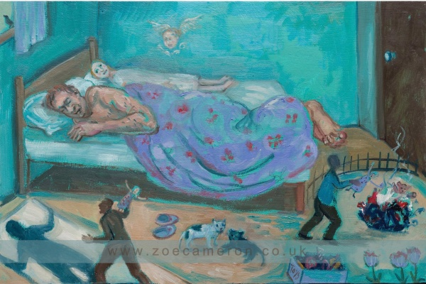 Painting Title - 10th December 2018. A prayer for frightened children. Oil on board. 100 painted vows. In a bedroom a child lays afraid behind a sleeping man. In the foreground are painted vignettes of angry episodes.