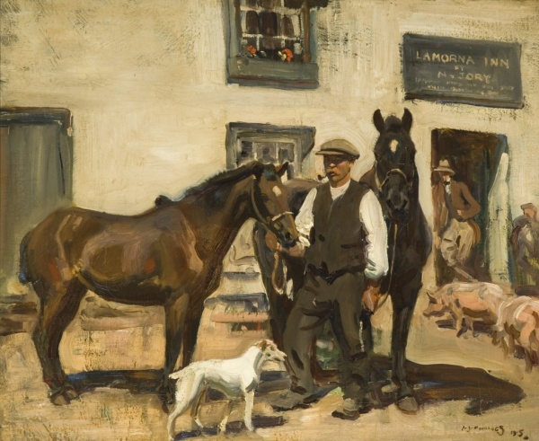 Sir Alfred Munnings painting of Lamorna Inn.