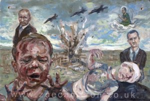 Ex Votive.Effect of war on children.Painting title - April 27th 2016 Al Quds Field Hospital , Aleppo ,Syria. Staff and Patients are killed in an air strike by Government and Russian forces. Oil on board.Two children are injured one cries and looks at his damaged hands. Behind them a bomb explodes and two men in dark suites watch .