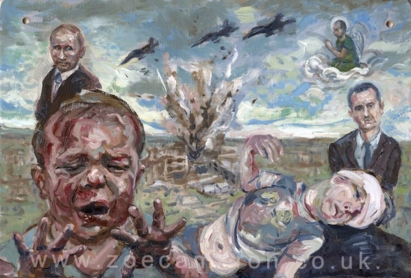 Painting title - April 27th 2016 Al Quds Field Hospital , Aleppo ,Syria. Staff and Patients are killed in an air strike by Government and Russian forces. Oil on board.Two children are injured one cries and looks at his damaged hands. Behind them a bomb explodes and two men in dark suites watch .