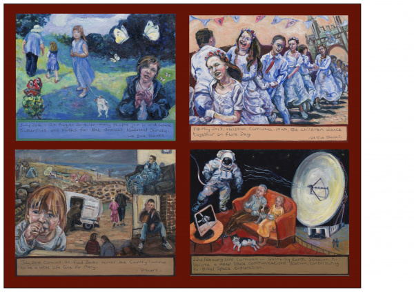 Paintings of - The annual Butterfly count, The Flora Dance, Poverty in Cornwall, Goonhilly Earth Station.