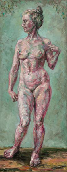 Painting of Eve in the garden of Eden. Diptych.