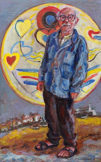 Painting of Terry Frost in front of one of his plate designs on St Ives beach