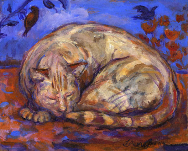 Painting of a sleeping pale ginger cat with sky ,flowers and a bird above him