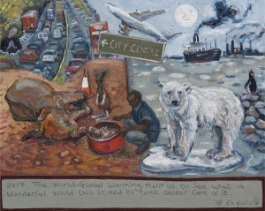 An Ex Votive painting about Global Warming showing an elephant dying of thirst, a Polar Bear on an Island of ice , traffic fumes and a burnt and bandaged baby Kangaroo.