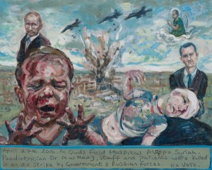 An ex Votive painting, about the bombing of a Syrian hospital in Aleppo.Tree bombers fly over, a building explodes, two children in the foreground are injured and the politicians watch.