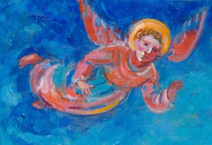 Painting of a colourful angel with red wings against a blue sky. Angel flying with a halo