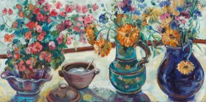 Painting of a Still life with garden flowers in two jugs and a Bernard Leach pottery sugar bowl . Oil on canvas . 2009 .