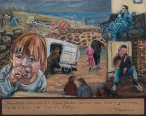Painting about poverty in Cornwall.Showing a child and figures with a food bank van by the seaside.