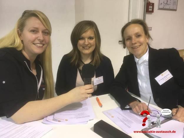 Patrizia Schmidtlein (Zöliakie Austausch), Bianca Maurer (Ernährungsmanagerin Diätetik (B. Sc.), DZG), Dr. Claudia Wiedemann (Vorstandsvorsitzende der DZG)