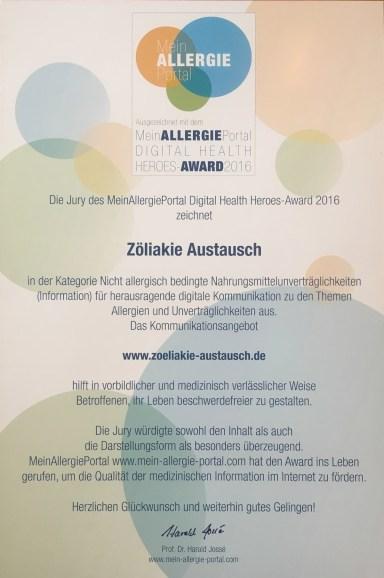 "Urkunde ""Digital Health Heroes Award"""