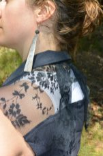 Black lace & Jean sleeveless jacket