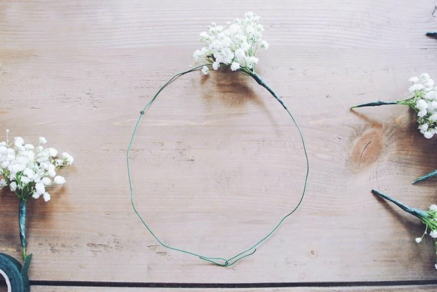 baby's breath flower crown DIY