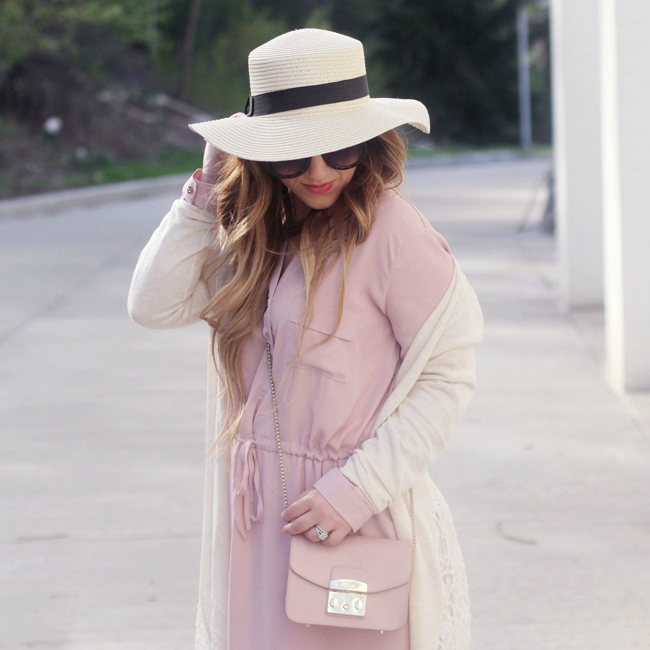 930793cd81 I Don t Hate Valentine s Day · Layering for Spring  Pink Shirtdress + Lace  Duster Cardigan