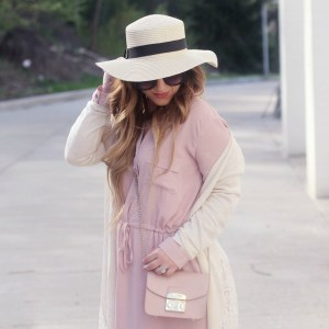 Layering for Spring: Pink Shirtdress + Lace Duster Cardigan