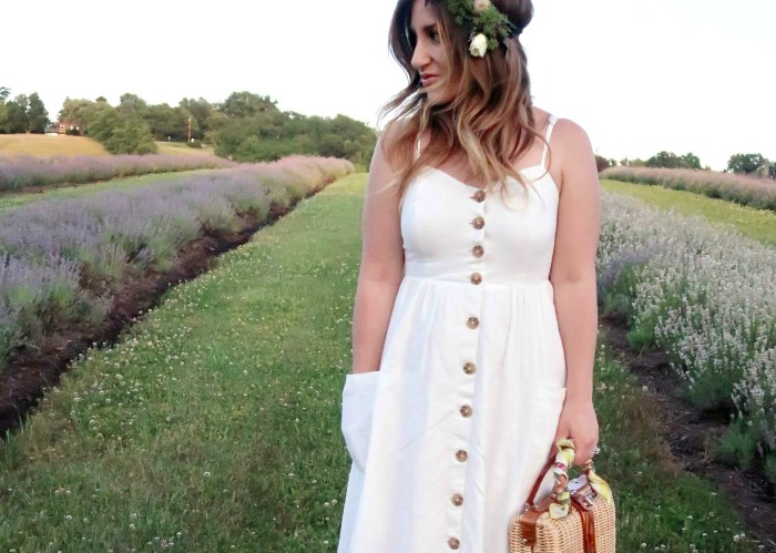 White Linen Dress and Wicker Picnic Bag