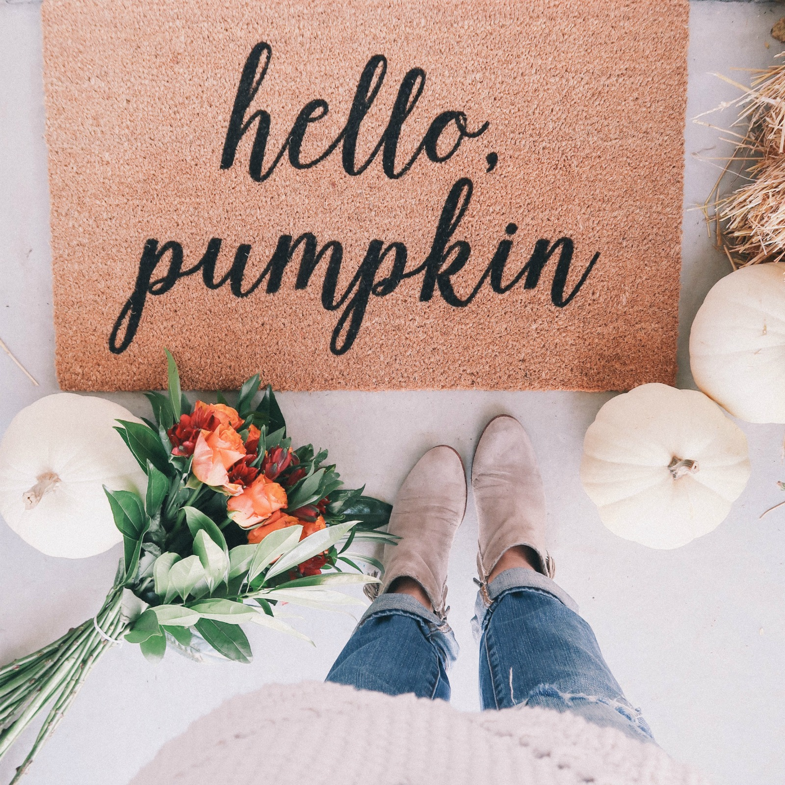 'hello, pumpkin' fall inspired doormat