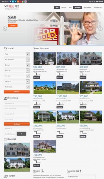 Hemsida för fastighetsmäklare