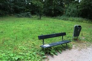 grasveld met bankje