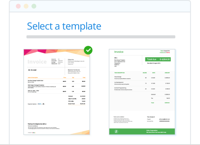 Invoice   Create and Send Professional Invoices   Zoho Invoice Brand Invoices with Templates   Zoho Invoice