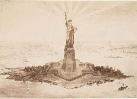 [Photograph of a drawing of the Statue of Liberty in Upper New York Bay.]