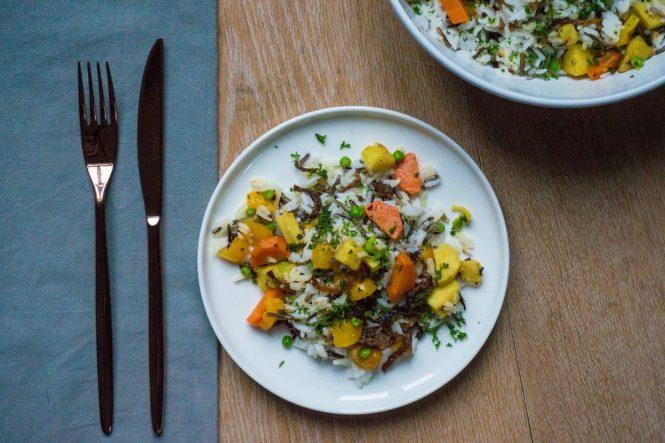 wilde rijstsalade met pastinaak