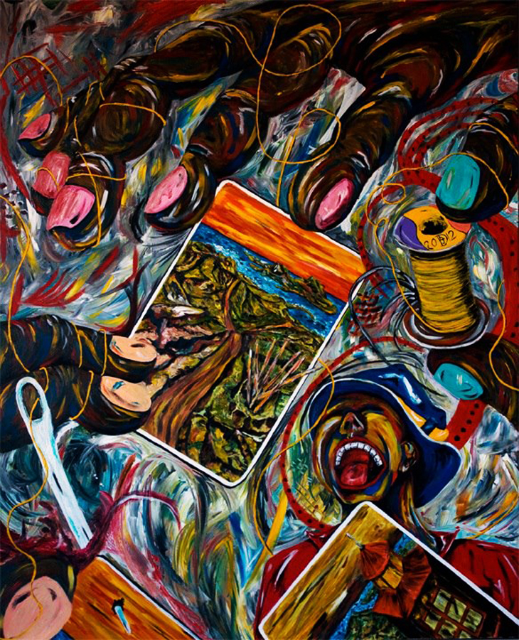 Points on a Continuum or How the Laughing Man Witnessed Pathways Through the Underlying Fabric of the Universe. © 2012 By Duane Kirby Jensen, 46 x 60 Acrylic on Canvas