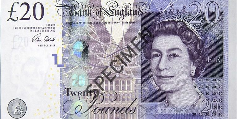 Bank of England £20 leh Adam Smith