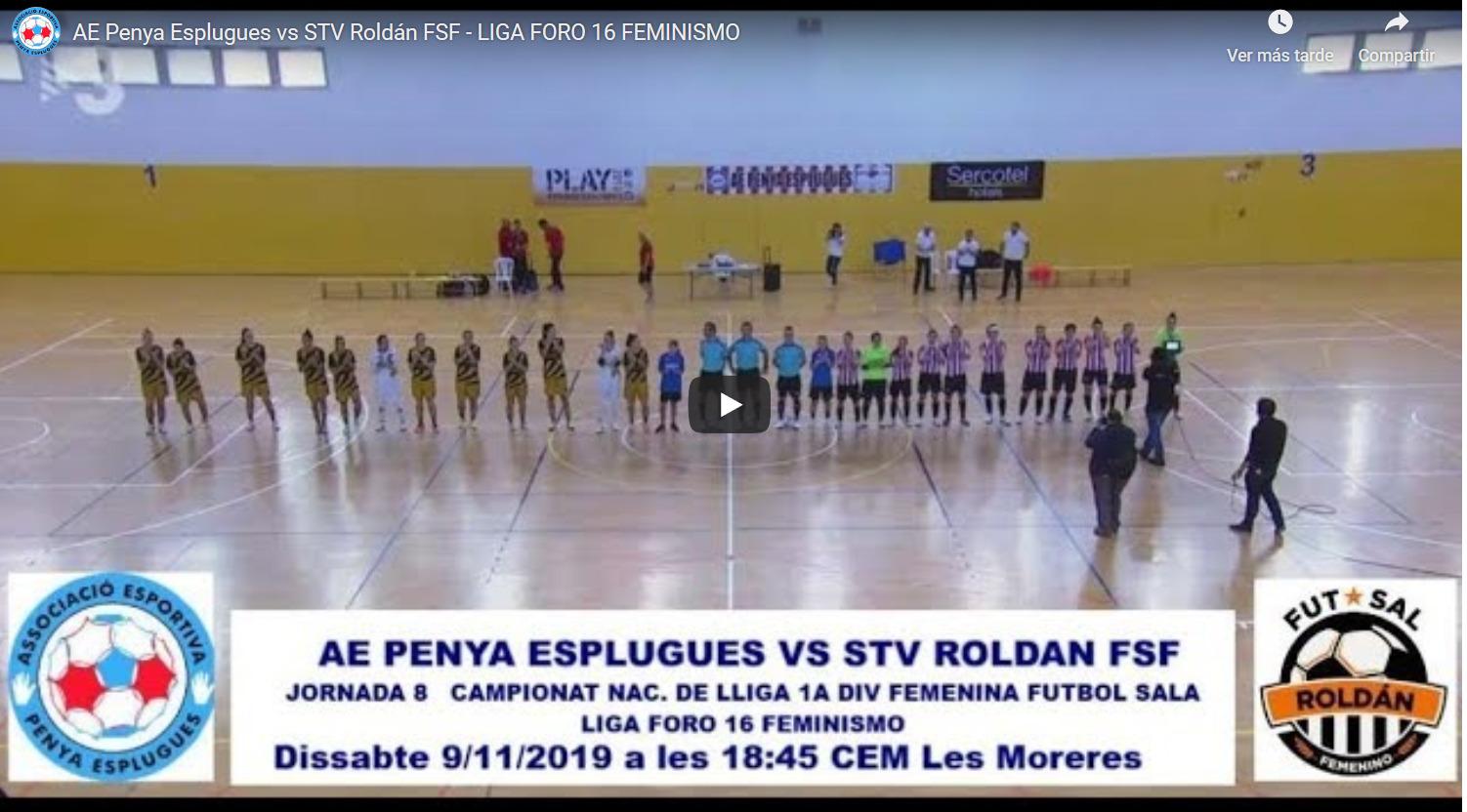 Emisión en Directo del Fútbol Sala Femenino. Jornada 9 y 10 de Noviembre