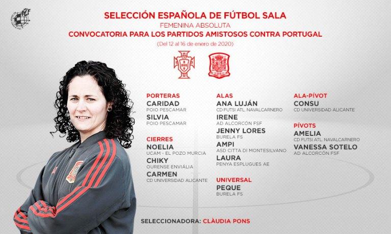 La Selección Española de Fútbol Sala Femenino se enfrenta hoy a Portugal en el primer amistoso