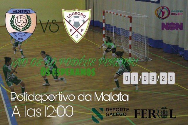 Previa: Valdetires Ferrol - Promesas Logroño FSF. 2ª Div. Grupo 1º. Partido Aplazado