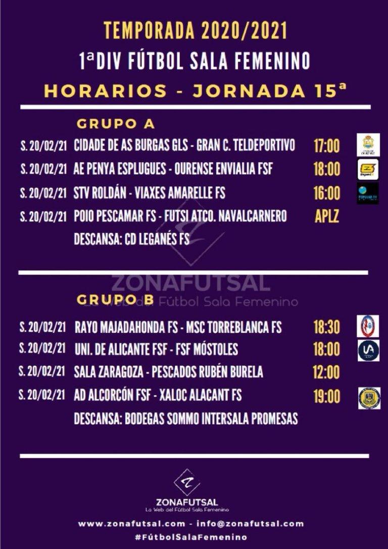 Horarios y Retransmisiones de la Jornada 15ª en 1ª División de Fútbol Sala Femenino