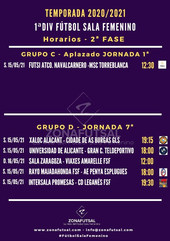 Horarios y Retransmisiones de la 7ª Jornada de la 2ª Fase – 1ª División de Fútbol Sala Femenino
