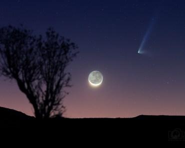 El cometa PanSTARRS y la Luna creciente
