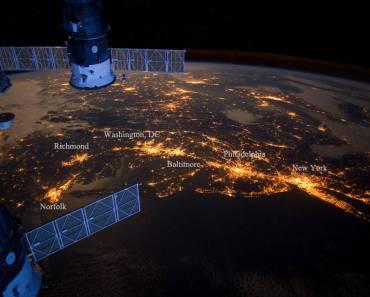 Megalópolis en el noreste de EEUU desde el espacio