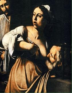 particolare di un quadro di Caravaggio