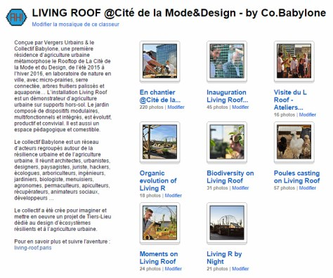 Capture d'écran et lien vers la collection de Zone-AH! sur le Living Roof by Co.Babylone. 2015-2016