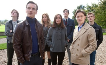 """In this film publicity image released by 20th Century Fox, from left, Caleb Landry Jones, Michael Fassbender, Jennifer Lawrence, Rose Byrne, Nicholas Hoult, James McAvoy and Lucas Till are shown in a scene from """"X-Men: First Class."""" (AP Photo/20th Century Fox, Murray Close)"""