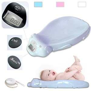 Babyfield – Pèse bébé électronique Bleu – Balance avec option musicale et mémoire intégrée