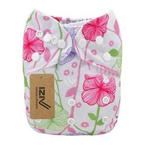iZiv(TM) Naissances Bébés avec 1 Epais Insert Imperméable/Réglable/Réutilisable/Lavable Poche Couches Lavables Fit Bébés 0-3 ans(Fleur)