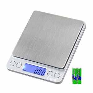 e-scale Balance électronique numérique SMART multifonction pratique cuisson Cuisine pesage Balance de poche portable échelle bijoux Gem médicaments envoi en acier inoxydable Fruit alimentaire–0,01g/500g et 0,1g/3000g, 2piles, 2plateaux (0,01/500g)