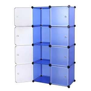 Songmics Armoire Penderie cubes etagère modulables plastiques cadre en métal bleu + blanc LPC24Q