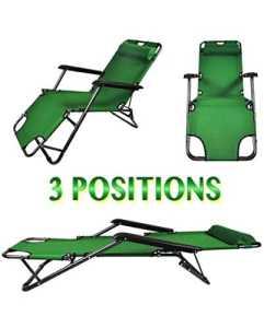 Chaise longue transat 3 positions fauteuil pliable jardin piscine plage vert