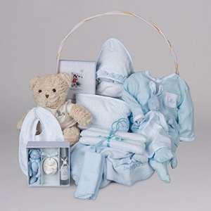 Coffret cadeau bébé Vintage de Rêve BebeDeParis-bleu- panier cadeau nouveau-né- coffret cadeau naissance – coffret vêtement bébé – bouquet de layette -bouquet de naissance