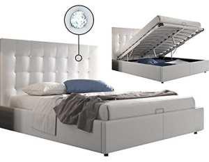 Lit design coffre 160×200 capitonné revêtement simili cuir blanc avec bouton cristal